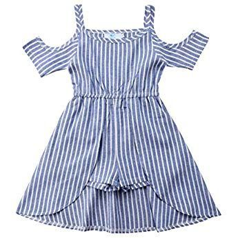 53b73f9d1 Ma&Baby Princess Kids Baby Girls Off Shoulder Blue Striped Dress Outfits  Clothes 1-6 Yrs (3-4 Years)