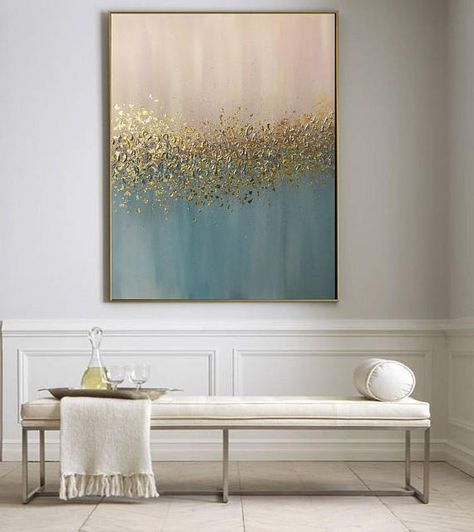 Large Wall Art Original, Gold Leaf Art, Abstract Acrylic Painting, Modern Art,Metallic Painting Abstract Painting On Canvas by Julia Kotenko #diywalldecor