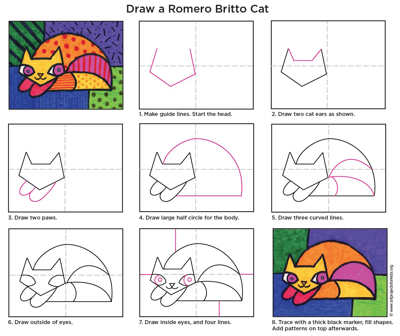 Romero Britto Cat Crafts For Kids Pinterest Diagram And Ear