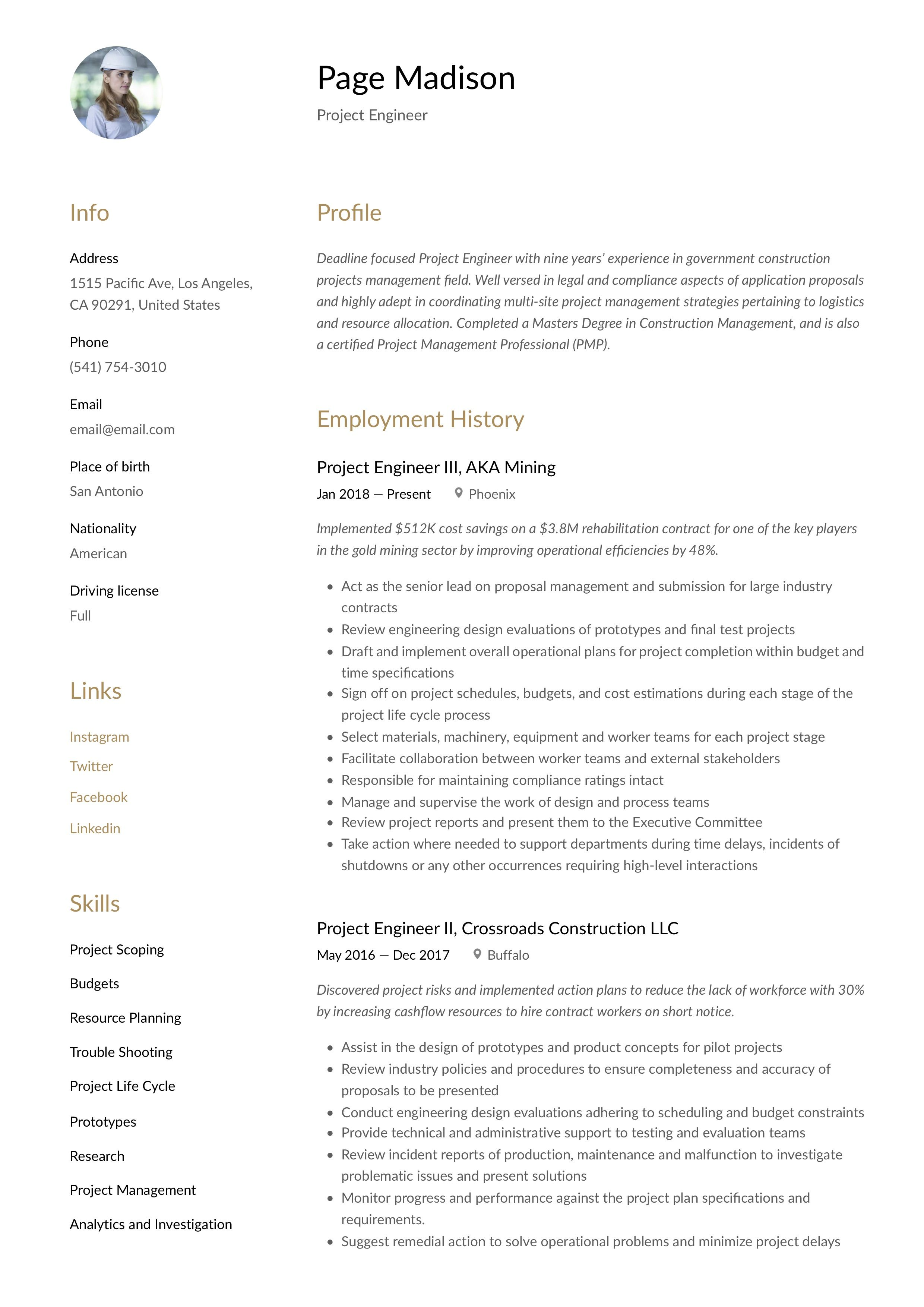 Modern project engineer resume template design tips