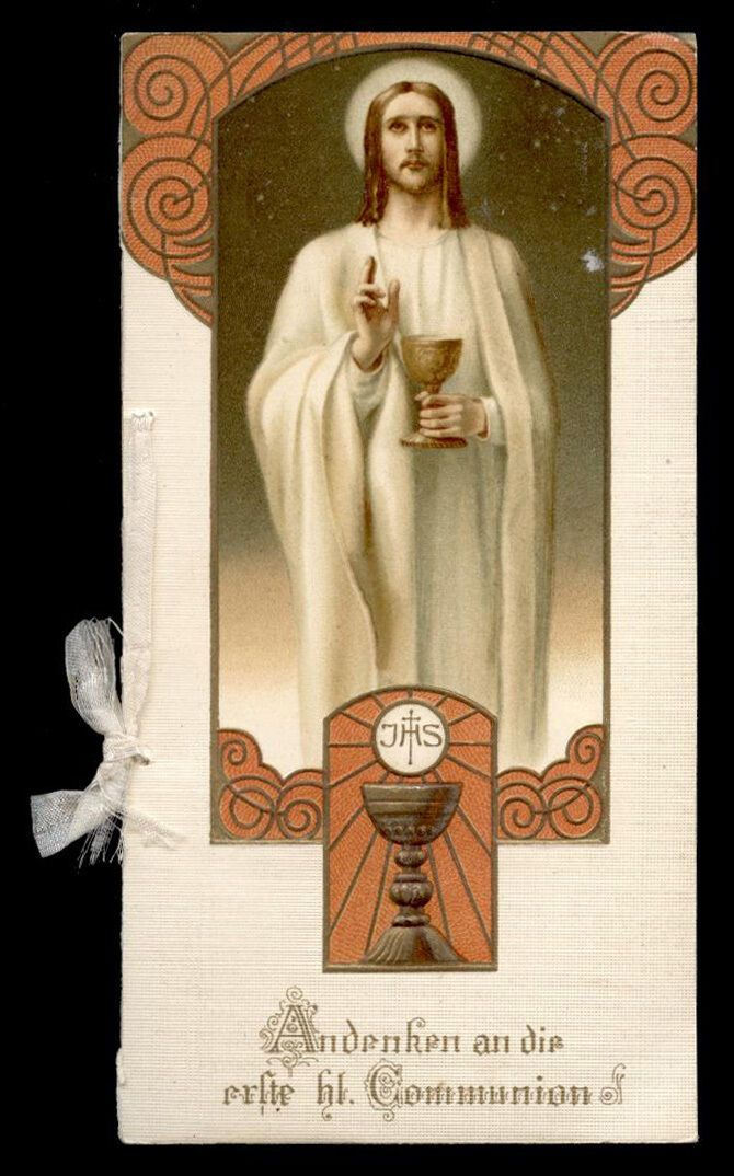 santino cromo-holy card RICORDO DI I COMUNIONE max hirmer