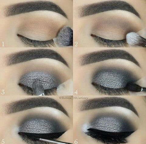 Maquillaje de noche en tonos grises