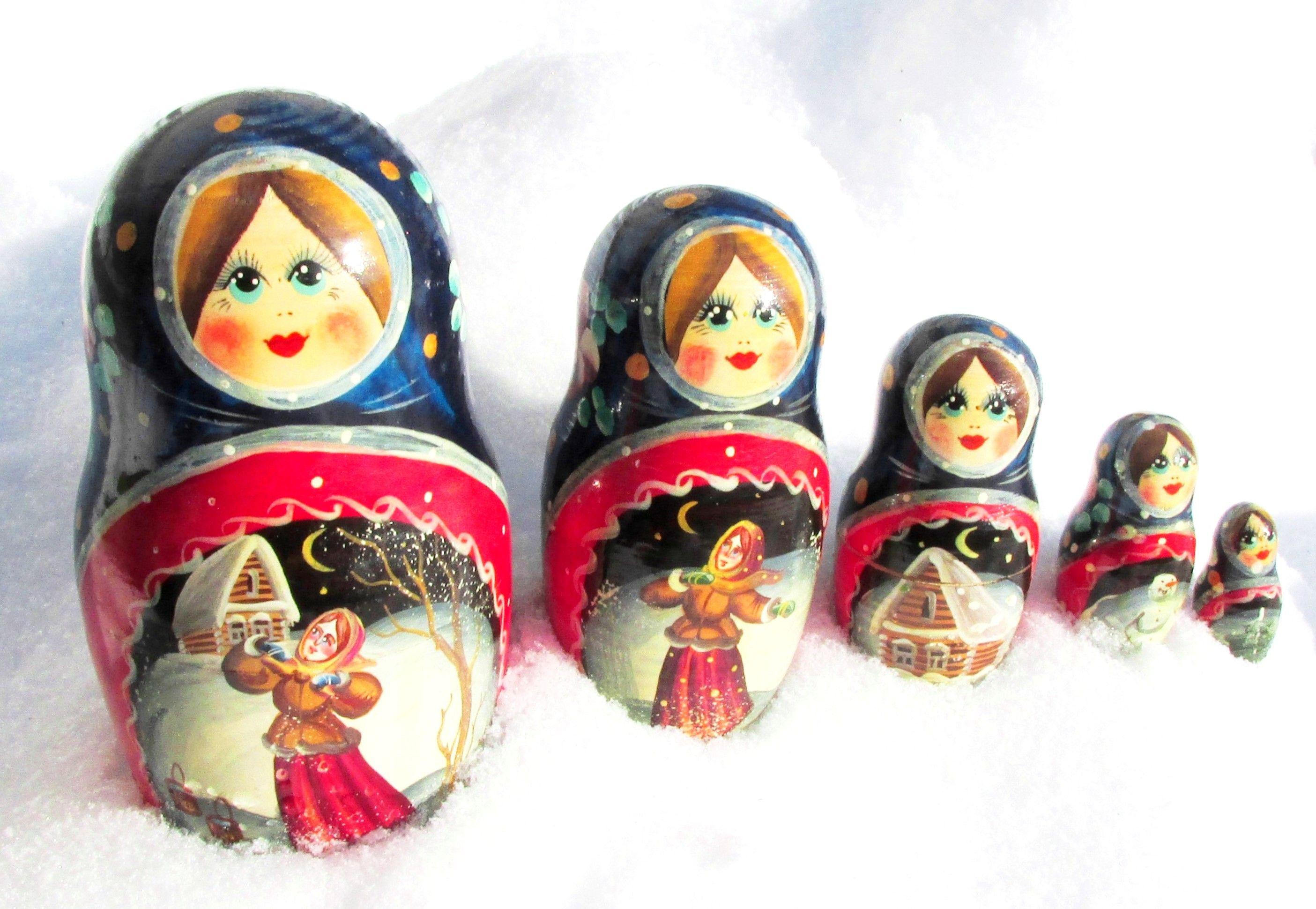 10 PIECES RUSSIAN TRADITIONAL MATRYOSHKA NESTING DOLL CHURCHES POKERWORK 10PCS