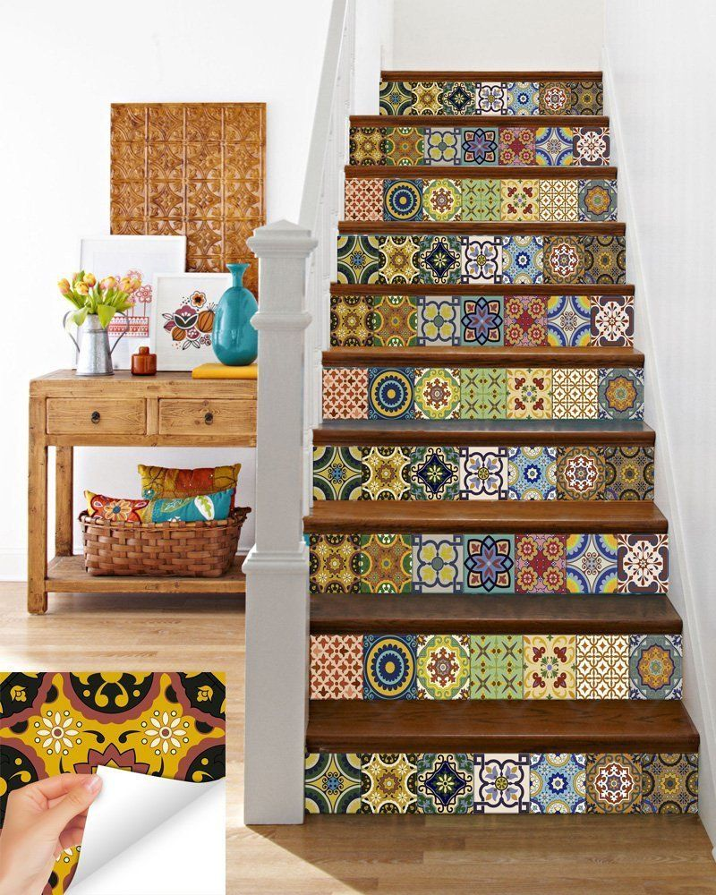 Stairs 24 PC Set Tile Decals Retro Vinyl Tile Sticker Kitchen mural Decor C400