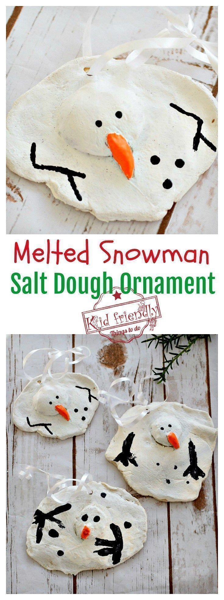 A Diy Melted Snowman And Candy Cane Salt Dough Ornament Idea And Recipe For Christmas With Kids Salt Dough Christmas Ornaments Christmas Ornaments Homemade Kids Christmas Ornaments