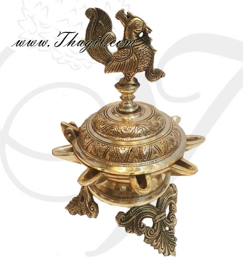 10 Inch Brass Peacock Oil Lamp Vilakku Hand Crated Indian Design Diya Oil Lamps Diya Lamp Brass Lamp