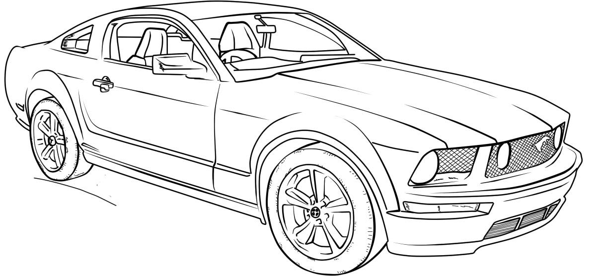 Ford Mustang Gt Lineart Coloring Page Cars Coloring Pages
