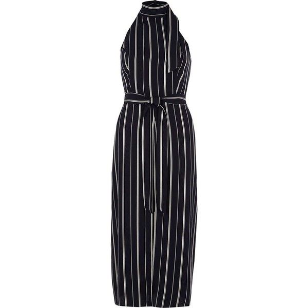 86980be7818 River Island Navy stripe high neck waisted midi dress ( 100) ❤ liked on  Polyvore featuring dresses