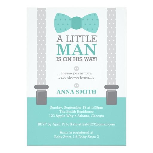 Beautiful Little Man Baby Shower Invitation In Tiffany Blue And Gray By DeReimer  DeSign