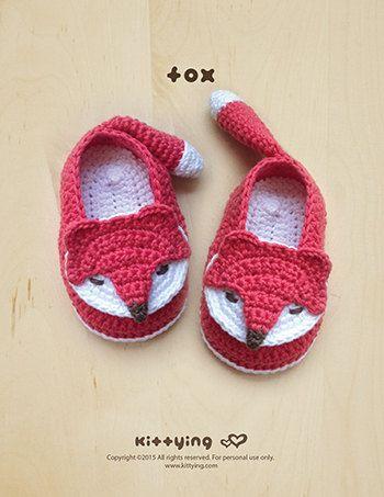 Crochet Pattern Fox Baby Booties Fox Babysocken Fox Applique | Baby ...