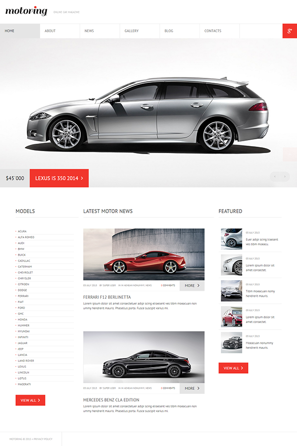 Online Car Magazine Joomla Template