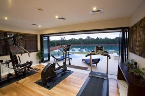 Home Gym Opens Up To Swimming Pool To Cool Off After A Workout Gym Room At Home Home Gym Design Dream Home Gym