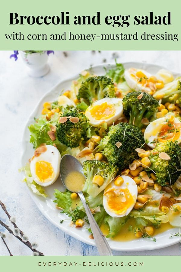 Photo of Broccoli egg salad with corn and honey mustard dressing