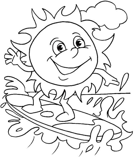 Summer Coloring Picture Of The Sun Riding A Surfboard