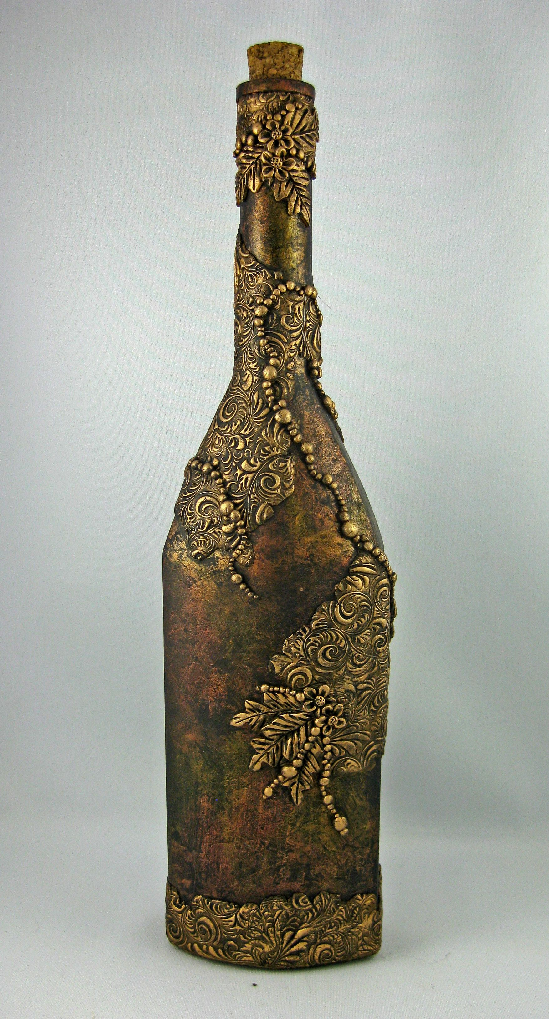 Treasure bottle for what ails you created by jayne for Wine bottle artwork