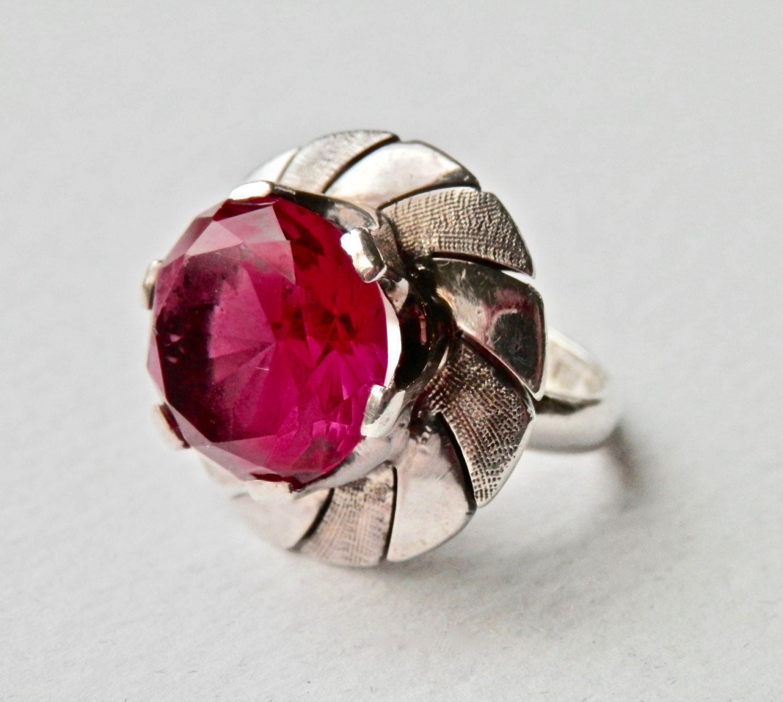 Mexico Vtg 925 Sterling Silver Real Jasper Gemstone Sombrero Pin Brooch Diamonds & Gemstones
