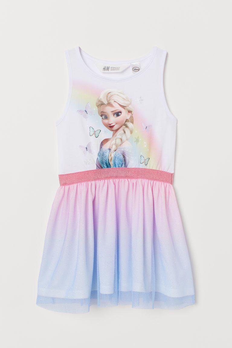 824101ffe1 Tiulowa sukienka z motywem - Biały Kraina lodu - Dziecko