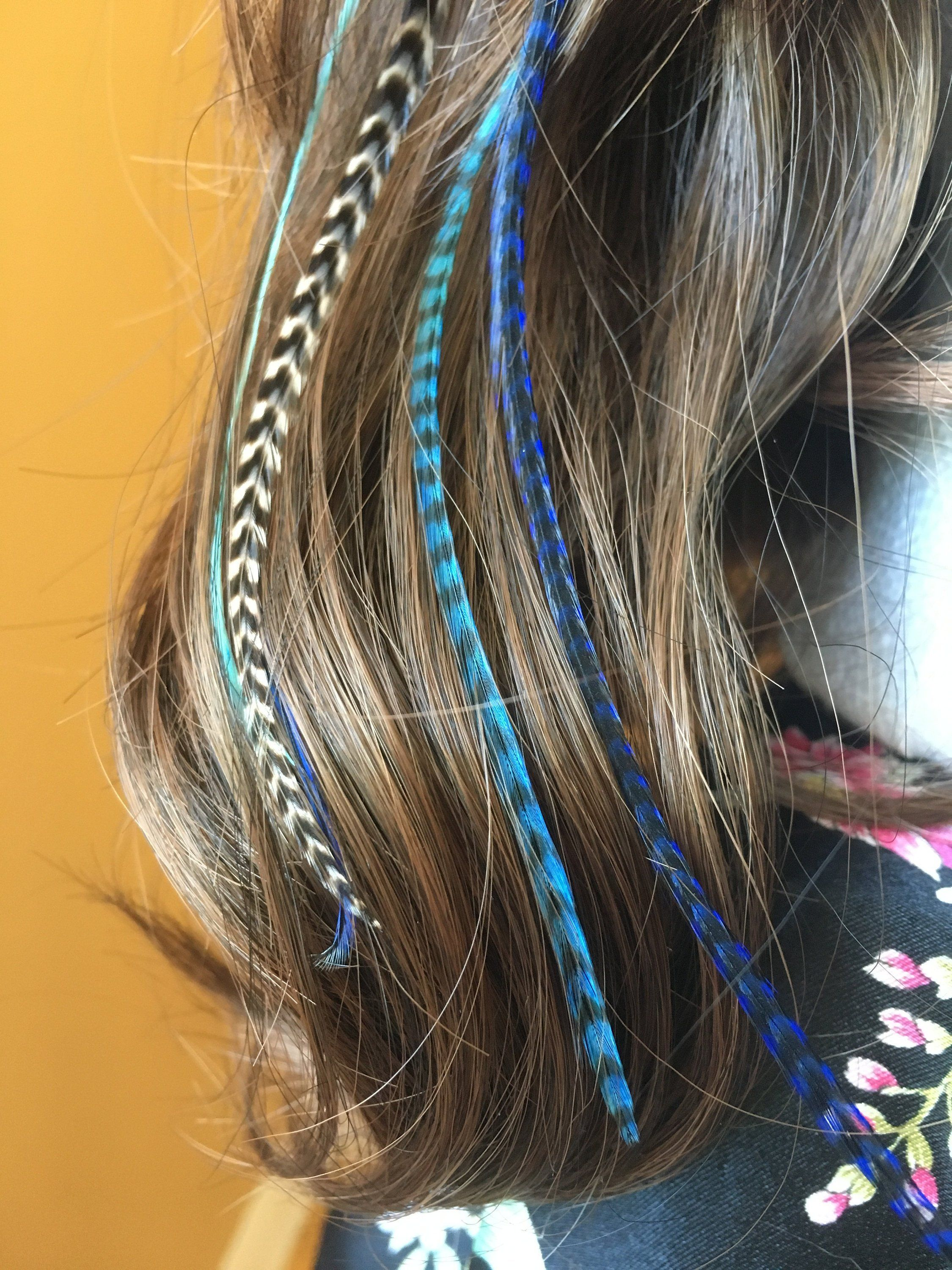 Feather Hair Extension Clip In Blue Turquoise Pale Blue And Grizzly Choice Of Clip Color Hair Clip Festival Hair Blue Hair Feathers Feathered Hairstyles Hair Extension Clips Colored Hair Extensions