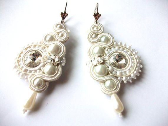 Bridal soutache earrings - Statement - Wedding sutasz - White Beige - Steel…