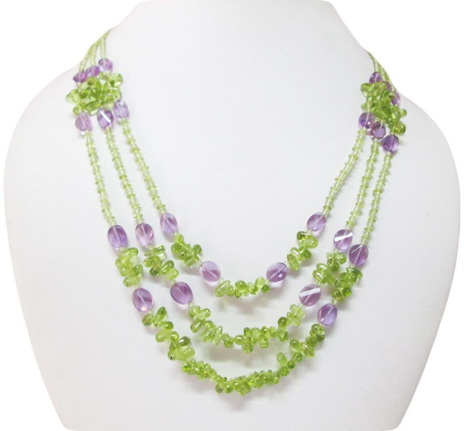 Peridot & Amethyst Beads Necklace,beaded Necklace,jewellery,mala Beads,gift  Ideas
