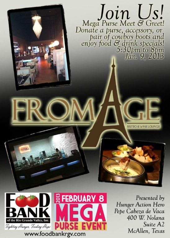 Bring your purses & accessories to donate and try out the NEW place Fromage! #rgv