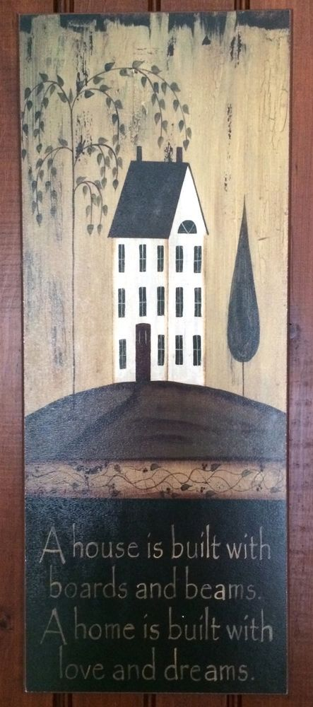 A Home Is Built With Love Country Folk Primitive Art Plaque Sign ...