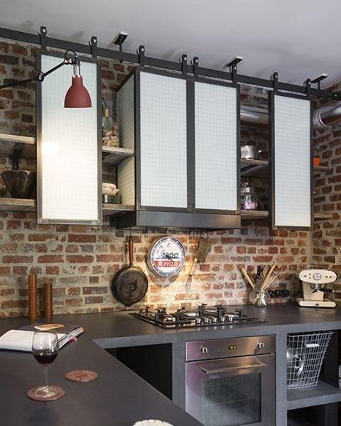 Angus Industrial Wall Light: Tijolinho Na Cozinha é Legal, Vai Por Mim... #inspiração