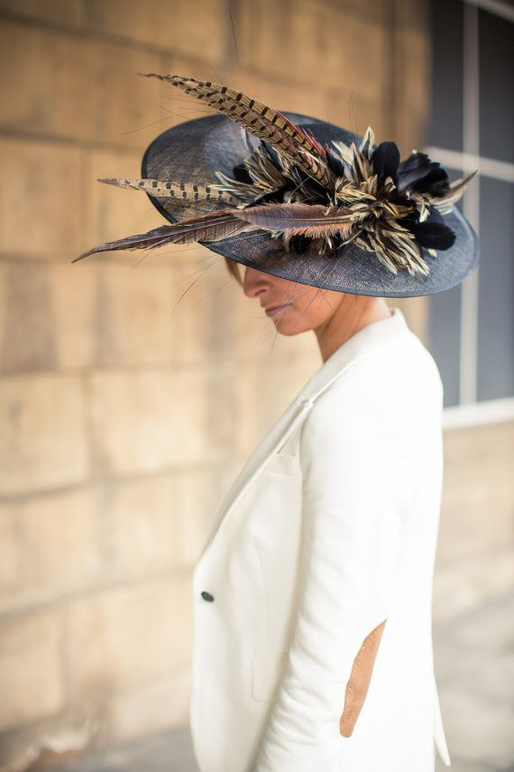 Pheasant Feather Saucer Hat Perfect For Weddings Or Race Etsy Fancy Hats Hats Father Of The Bride Outfit