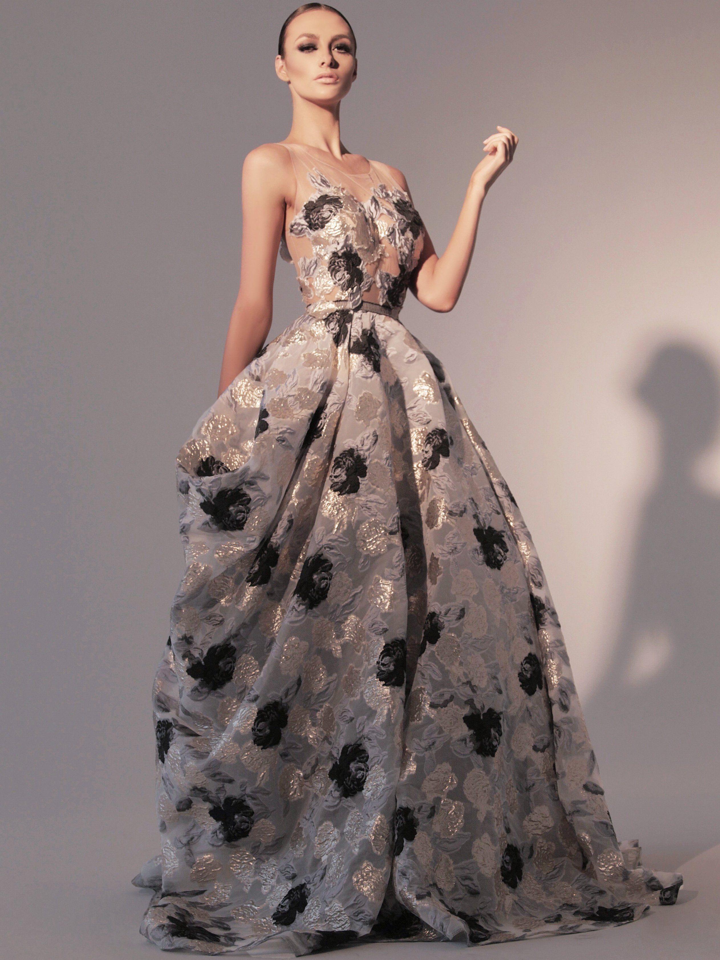 Nicole Bakti Floral Print Ball Gown