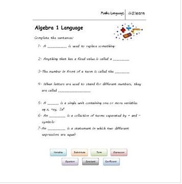Math Language Algebra 1 Worksheet For 9 16 Year Olds Algebra 1 Algebra Math