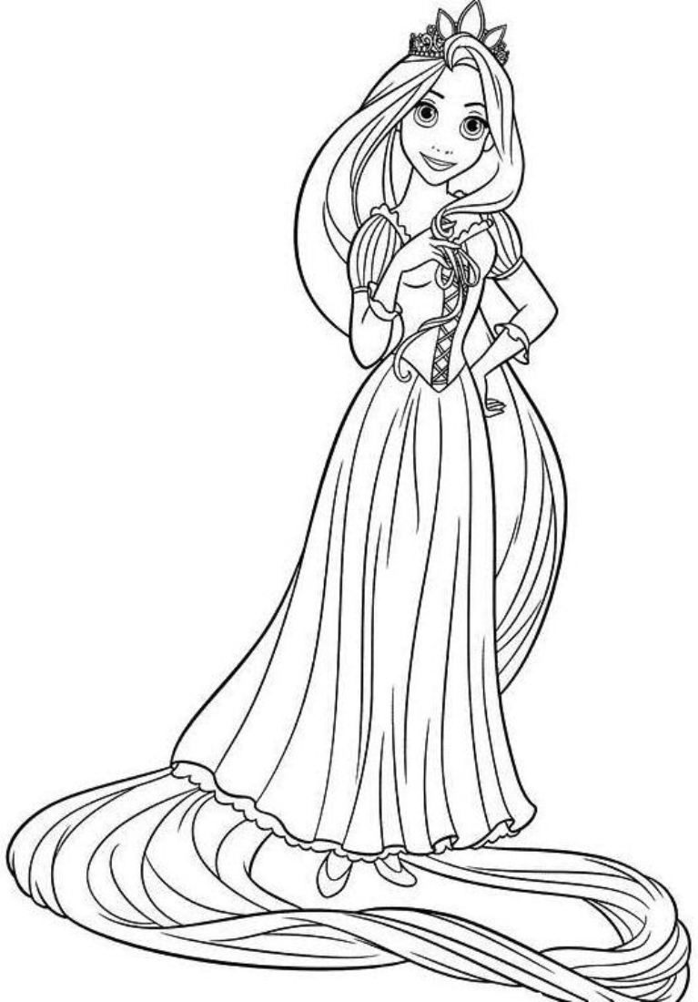 Princess Coloring Pages Rapunzel Free Download  Books Worth