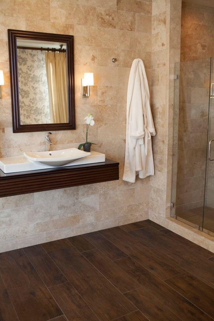 1001 mod les inspirants d 39 une salle de bain avec parquet - Meuble salle de bain bois fonce ...