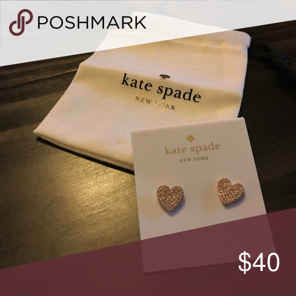 277ccdc82 Kate Spade Yours Truly Pave Heart Stud Earrings Kate Spade Yours Truly Pave  Heart Stud Earrings-worn once. Kate Spade rose gold tone pave crystal heart  stub ...