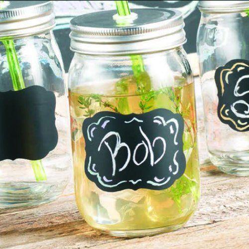4 oz mason jars | Set of Four (4) 15-oz Chalkboard Mason Jar Beverage Cups ~ 4 Clear ...