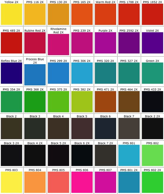 Real Access Promotional Products Creative Business - PMS Color Chart - sample pms color chart