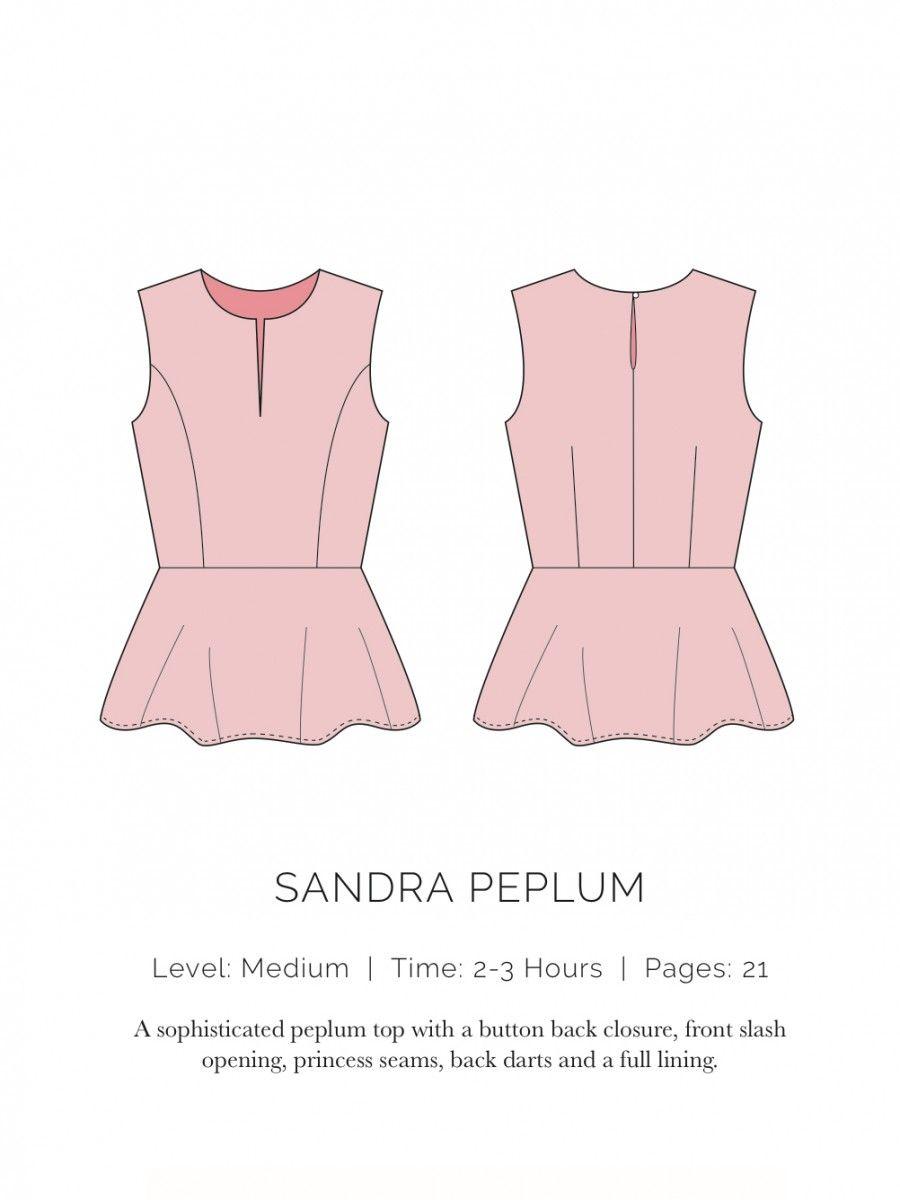 Sandra Peplum - patron gratuit spitupandstilettos.com | Sewing ...