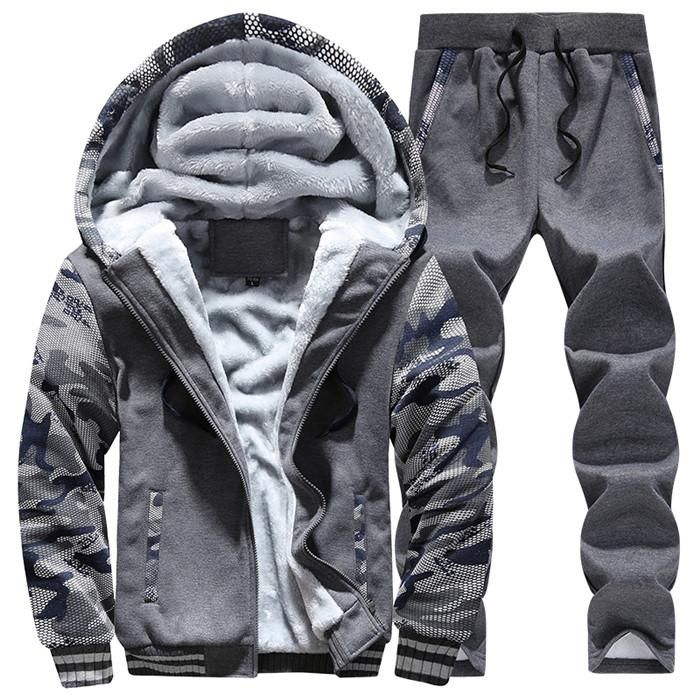 Tracksuit Men Camouflage Army Casual Hooded Warm Sweatshirt Male Winter  Thick Inner Fleece 2PC Jacket+Pant Men Moleton Masculino 43032a374e2