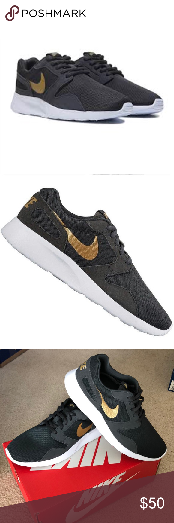 new style 054d4 984dd Women s Nike Kaishi Sneakers Women s Nike Kaishi Like new - very clean  (only worn twice) Size 11.5 in box Gray and gold Extra (gold color)  shoestrings ...