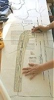 A French Curve Rule represents all of the curves of the human body.  My rule is extra long (24 inches) and has slots for 5/8 inch seam allowances and the hemline curve.