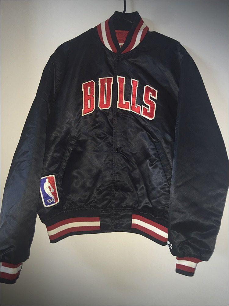 Vintage Deadstock Nwot 90 S Nba Chicago Bulls Starter Black Satin