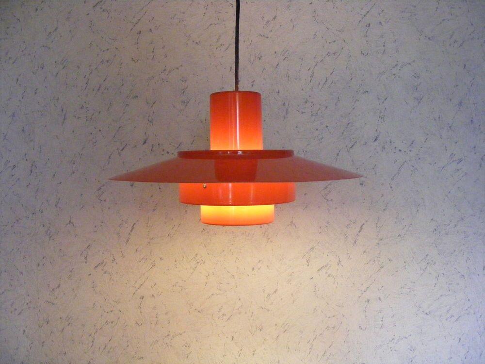 1960's Fog & Morup Falcon Red Pendant Lamp Danish Mid Century Modern