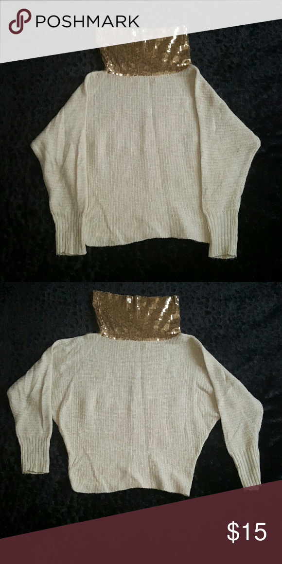 Clothing Beautiful Cream and gold sequined cowl neck sweater. Womens size Medium Charlotte Russe Sweaters