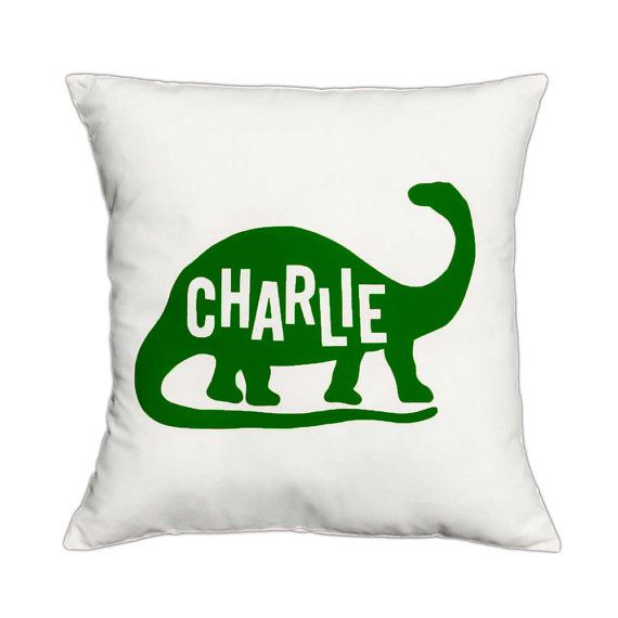 Personalized Dinosaur Pillow Cover – Custom Name Cushion ...