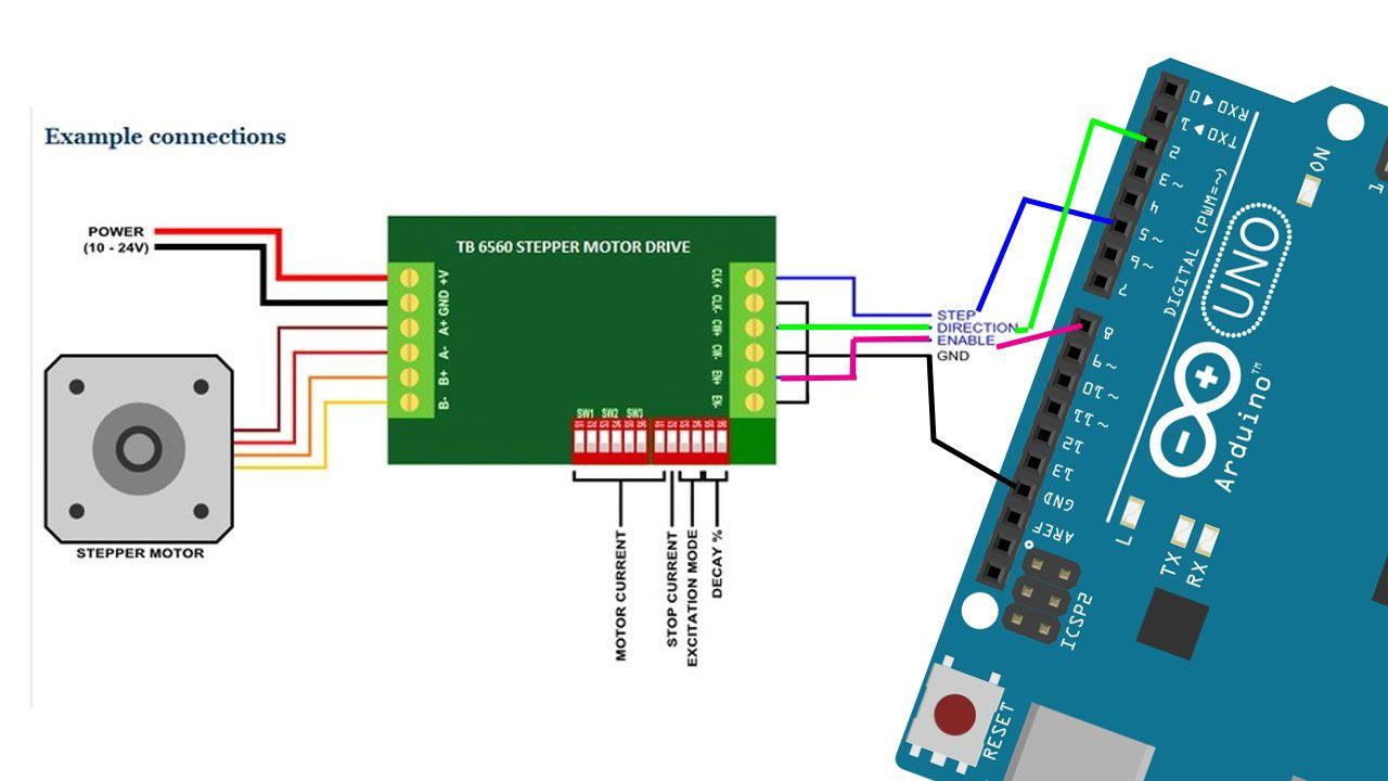 Schematic diagram Arduino with TB6560 Driver TB6560 CLK