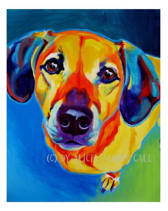 becb6968f69 Print of Colorful Dog Painting by Alicia VanNoy Call. Original was acrylic  on canvas. FREE SHIPPING  in the U.S.! This bright