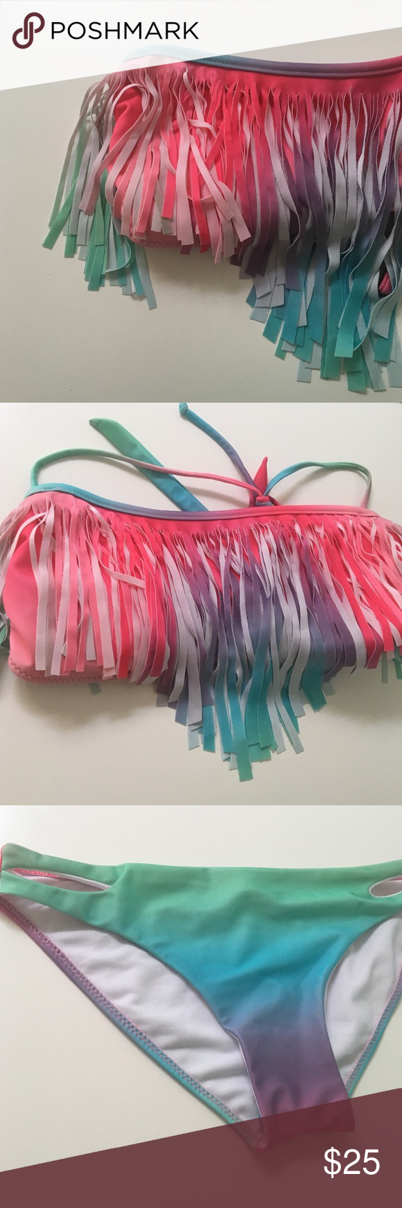 | new | • Rainbow Fringe Bikini • •Info This bikini was purchased and never worn! In new condition, selling because it has gone untouched!  🔹No Trades/alternate transactions 🔹24 hour holds ONLY 🔹Make fair offers through offer button 🔹Same or next day shipping 🔹Free gift with every purchase $20+ 🔹Scratch off coupon given with all orders 📷 Closet Instagram: @alexandra.como 📷 Personal Instagram: @alexcomo Swim Bikinis
