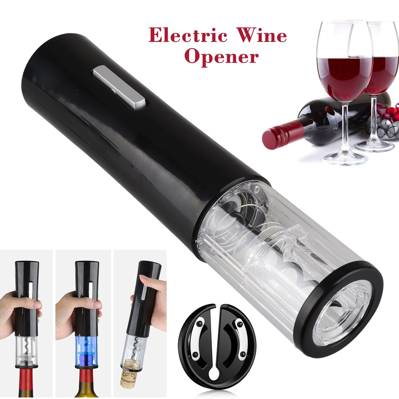 Rabbit Rechargeable Electric Wine Opener Set Stainless Steel wt Foil Cutter Cork