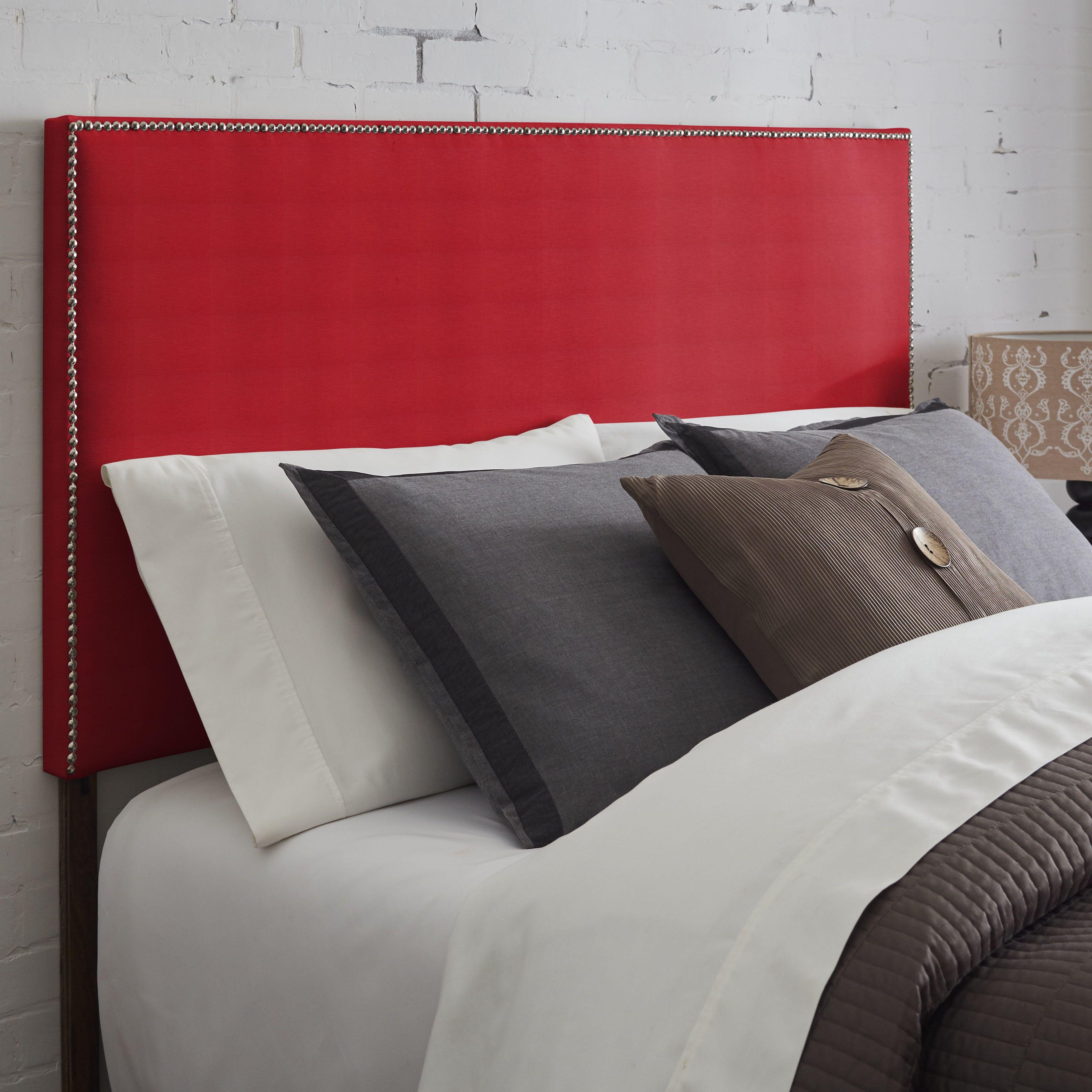 Loft bedroom no door  Humble  Haute Nottingham Nailhead Trim Red Upholstered Headboard