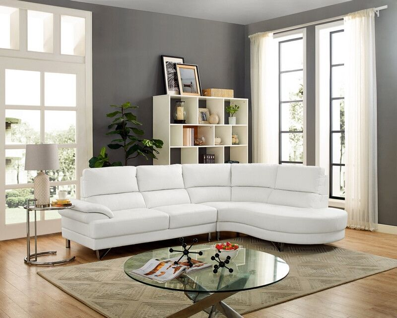 Oah D6162 2 Pc Navelle White Faux Leather Sectional Sofa Rounded Chaise Sectional Sofa Round Sofa Faux Leather Sectional