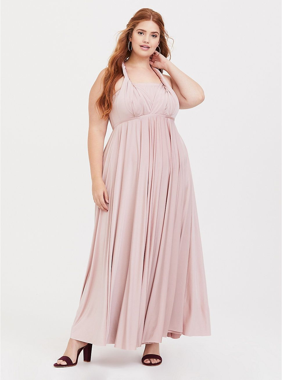 82b3bd5e896 Plus Size Special Occasion Pink Studio Knit Convertible Maxi Dress